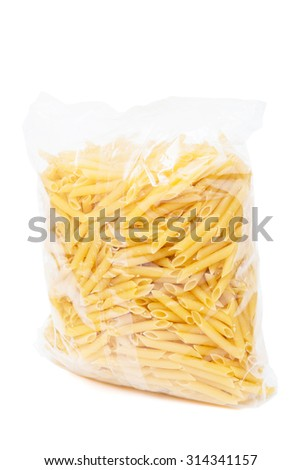 macaroni in the package on a white background