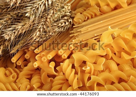 Macaroni made of wheat of a new crop, is a necessary component in cooking - stock photo