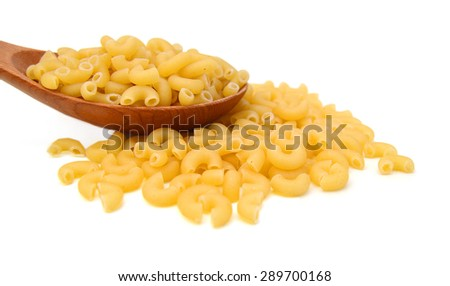 Macaroni pasta close up isolated in wooden spoon on white - stock photo