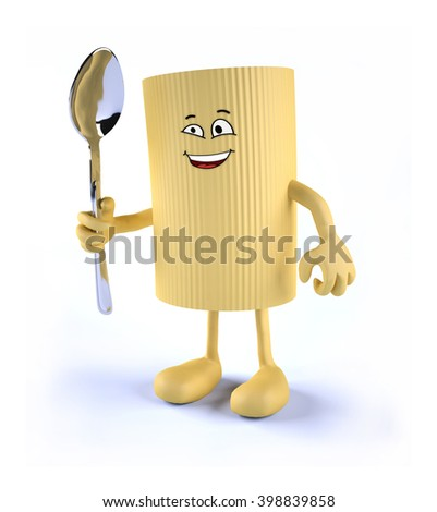 macaroni pasta with face, arms, legs and spoon on hand, 3D illustration - stock photo