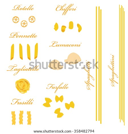 Macaroni set raster, pasta collection, macaroni icon, pasta types names
