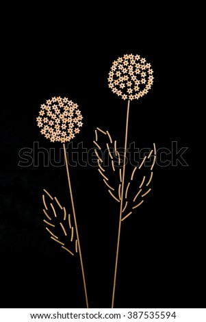 macaroni, spaghetti, noodles, in the form of dandelions on a dark background