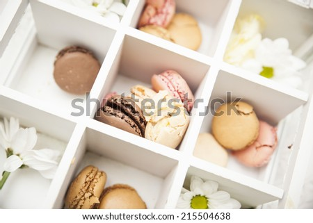 macarons in box - stock photo