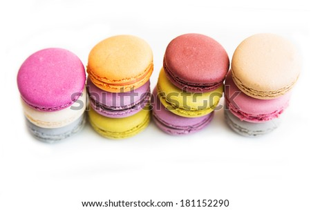 macarons  isolated - stock photo