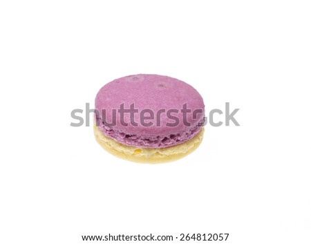 macarons on white background. Macaron is sweet meringue-based confection.