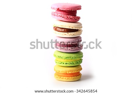 macaroon isolated on white background French dessert - stock photo