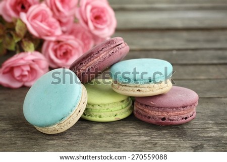Macaroons colorful - stock photo