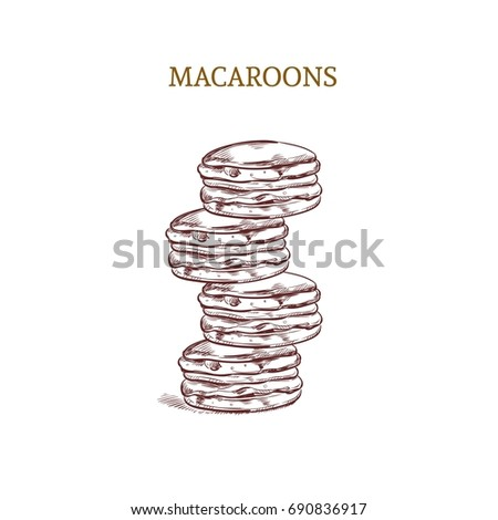 Macaroons. Colorful. Hand drawn illustration. Concept for bakery.