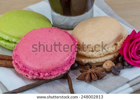 Macaroons delicious with espresso coffee served rose