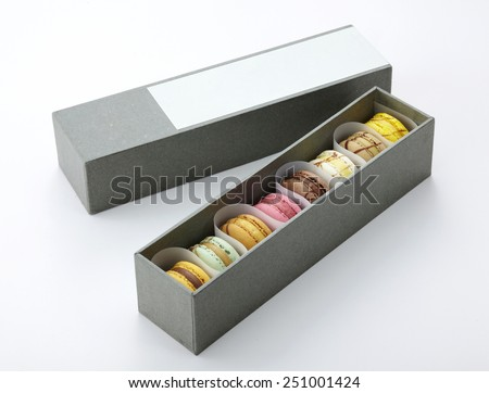 Macaroons dessert gift,traditional french colorful macaroons in a rows in a box  - stock photo