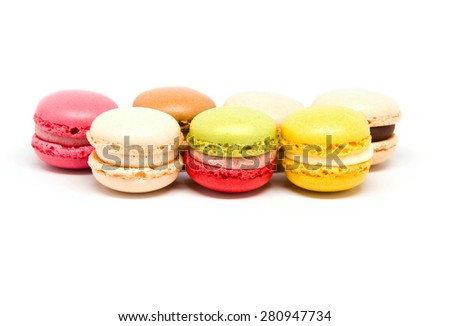 Macaroons isolated on white background