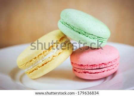 macaroons on retro-vintage background