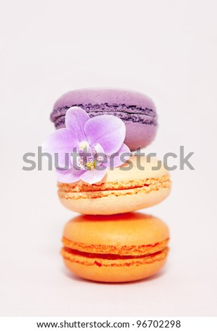 Macaroons pile - stock photo