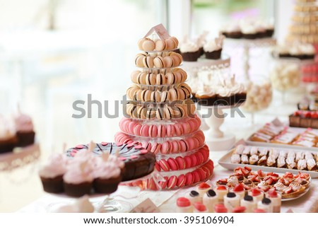 macaroons pyramid in a candy bar