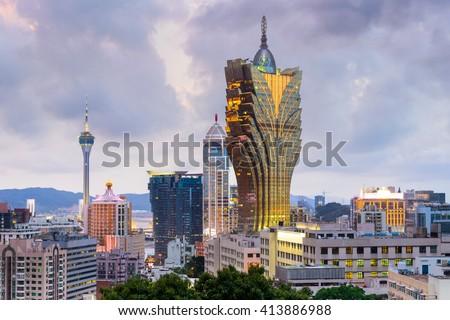 Macau, China city skyline at dusk. - stock photo