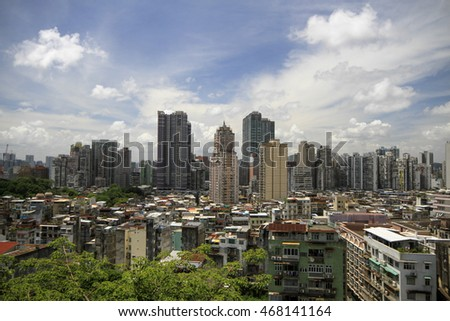 MACAU , CHINA - JULY 2 : The cityscape of Macau from the Monte Fortress on July 2 2016.
