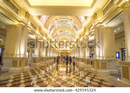 MACAU,CHINA - MAY 9 2016:The Venetian Macao-Resort-Hotel mall on Nov 23, 2015 in Macau. This is a major tourist attraction in Macau. - stock photo