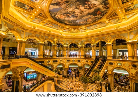 MACAU,CHINA - NOV 23:The Venetian Macao-Resort-Hotel casino on Nov 23, 2015 in Macau. This is a major tourist attraction in Macau. - stock photo
