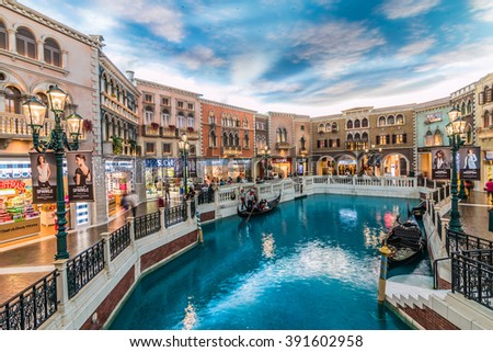 MACAU,CHINA - NOV 23:The Venetian Macao-Resort-Hotel mall on Nov 23, 2015 in Macau. This is a major tourist attraction in Macau. - stock photo