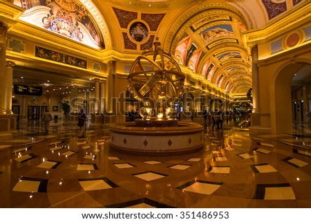 MACAU,CHINA - NOV 23:The Venetian Macao-Resort-Hotel on Nov 23, 2015 in Macau. This is a major tourist attraction in Macau.
