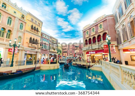 MACAU,CHINA - OCT 21:The Venetian Macao Resort Hotel mall on Oct 21, 2015 in Macau. This is a major tourist largest casino in the world. - stock photo