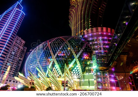 MACAU,CHINA - 14 OCTOBER ,2013:Casino Lisboa is one of the most famous hotel casinos in Macau, China. The casino is owned by the Sociedade de Turismo e Divers�µes de Macau (STDM), a Stanley Ho company. - stock photo