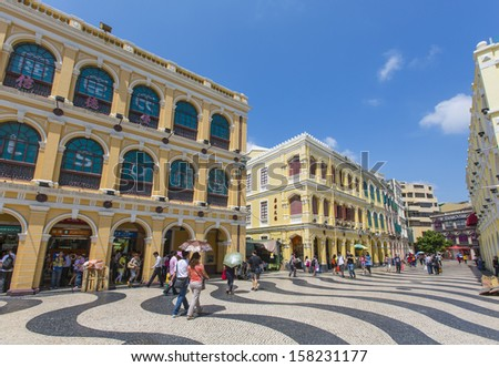 MACAU, CHINA - 25 SEPTEMBER 2013 - Historical buildings surround the Leal Senado Square, on 25 Sept 2013, in Macau, China.