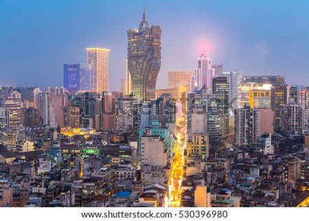 Macau cityscape skyline at dusk. Mocau now is part of China.