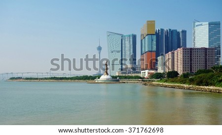 MACAU -15 DECEMBER 2014- Macau is a popular tourist destination in Asia and one of the leading casino markets in the world. Many big Las Vegas hotels have sister properties in Macao. - stock photo