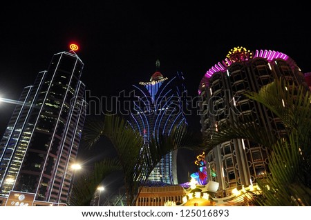 MACAU - FEB 20 2009:Casino lights in Macao.Gambling in Macau has been legal since the 1850s when the Portuguese government legalized the activity in the colony.