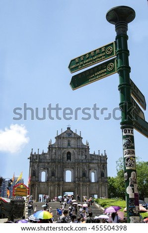 Macau, June 19, 2016: Ruins of St. Paul's. Built from 1602 to 1640 - stock photo