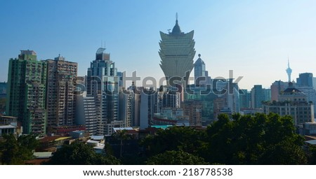 MACAU, MACAU, DECEMBER 20, 2013: View over skyline of Macao