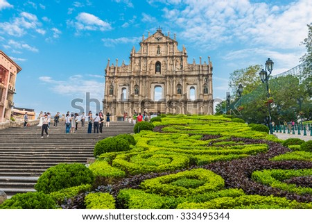 MACAU, MACAU - OCTOBER 22,2015 - Ruins Of Saint Paul's Cathedral. Built from 1582 to 1602 by the Jesuits. Was destroyed by a fire during a typhoon in 1835. - stock photo
