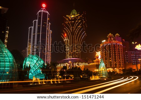 MACAU - OCTOBER, 26: night view of the Grand Lisboa Casino, is seen on October 26,2012 in Macau, China. Macau is gambling center of Asia and one of  world's top gambling destinations. Canon 5D Mk II.