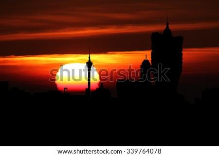 Macau skyline at sunset illustration - stock photo