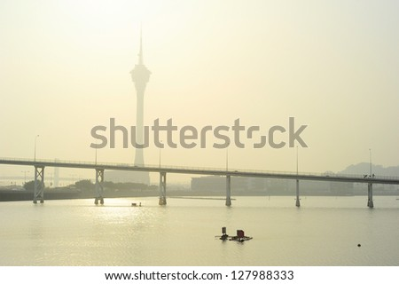 Macau Tower Convention and Sai Van bridge in the morning