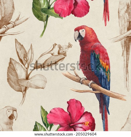 Macaw and hibiscus flower drawings. Seamless pattern - stock photo