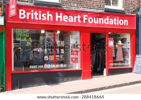 Macclesfield,UK - May 28th 2015: Charity shops are more popular than even on the high streets of English town.  The British Heart Foundation operates a chain of stores around the country.