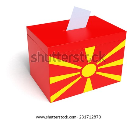Macedonia ballot box with Macedonian Flag. Isolated on white background. - stock photo