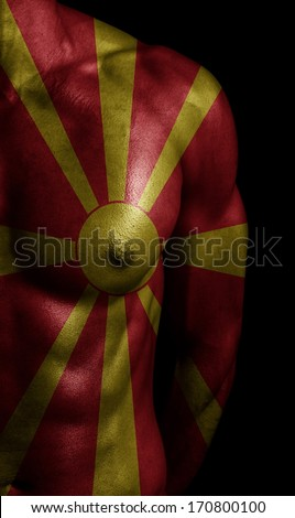 Macedonia flag painted on body