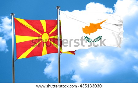 Macedonia flag with Cyprus flag, 3D rendering