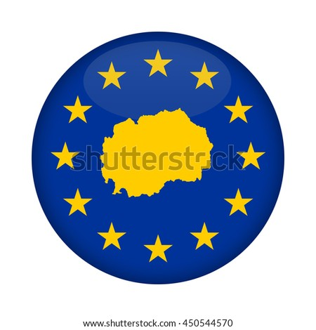 Macedonia map on a European Union flag button isolated on a white background. - stock photo