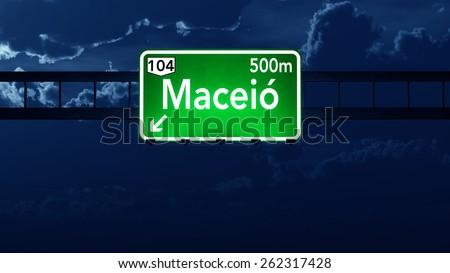 Maceio Brazil Highway Road Sign at Night - stock photo