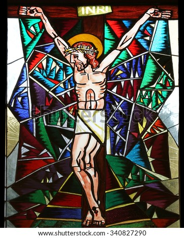 MACELJ, CROATIA - APRIL 05: Crucifixion, stained glass window in Memorial Church of the Passion of Jesus in Macelj, Croatia on April 05, 2014 - stock photo