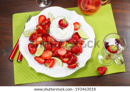Macerated strawberries with mascarpone whipped cream - stock photo