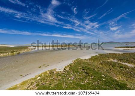 Machair at Traigh Ear - North Uist - stock photo