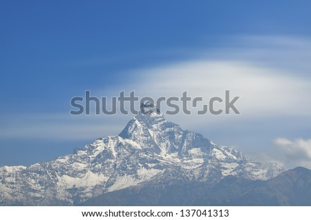 Machapuchare Mountain from Dhampus, Pokhara, Nepal.