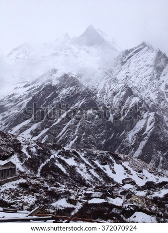 Machapuchare or Fishtail peak in Nepal, a part of Annapurna base camp - stock photo