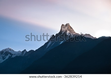 Machapuchare peak in Himalayas , Nepal