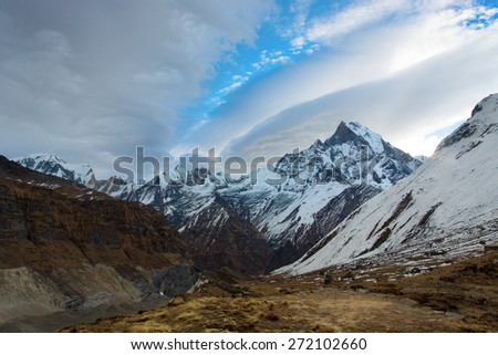 Machhapuchchhre (Fish Tale) from Annapurna Base Camp Himalaya Mountains in Nepal - stock photo